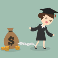 Graduate is chained to a money bag of debt