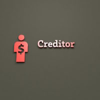 Illustration of Creditor with red text on brown background